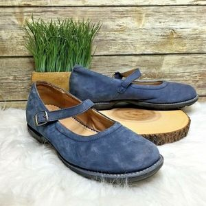 Lands' End Blue Nubuck Leather Mary Jane Flats